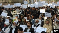 Afghan protesters demonstrate against a proposed U.S.-Afghan strategic security agreement in Kabul on October 24.