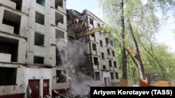 "A ""Khrushchyovka"" apartment block is demolished in Moscow earlier this year."