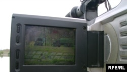 Georgia -- Potiblog; video camera display shows close watch of Russian checkpoint outside Poti on 11sep2008 (pic by Tea Absaridze)