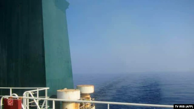 AT SEA -- A picture released by Iranian State TV IRIB allegedly shows the Iranian crude oil tanker Sabiti sailing in the Red Sea, October 10, 2019