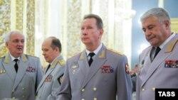 Глава МВД Владимир Колокольцев, командующий Росгвардией Виктор Золотов и глава ФСБ России Александр Бортников