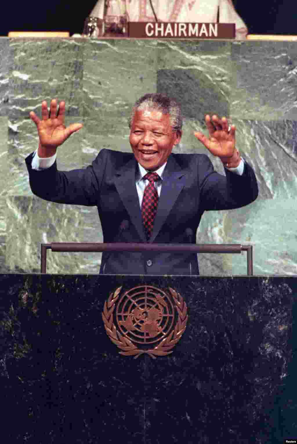 ნელსონ მანდელა 1990 წლის ივნისში, გაეროს გენერალურ ასამბლეაზე გამოსვლისას.