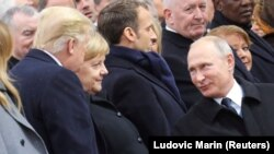 در این تصویر از سال ۲۰۱۸ رهبران روسیه، فرانسه، آلمان و آمریکا در گرامیداشت آتشبس ۱۱ نوامبر ۱۹۱۸ در پاریس