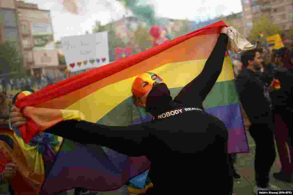 Participants attend Kosovo's third Pride Parade in Pristina on October 10. (Valdrin Xhema/epa-EFE)