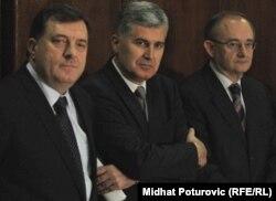 Milorad Dodik sa predsjednicima dva bh. HDZ-a, Draganom Čovićem i Božom Ljubićem