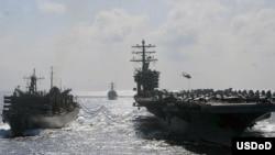 دو ناو هواپیمابر آمریکا، منطقه خلیج فارس را ترک کرده اند