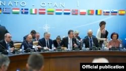 Belgium - NATO Secretary General Anders Fogh Rasmussen chairs a meeting of the North Atlantic Council with Armenia's Defense Minister Seyran Ohanian and Foreign Minister Edward Nalbandian, Brussels, 20May2014.