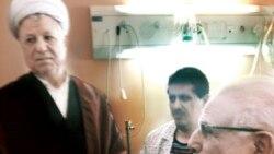 عیادت اکبر هاشمی رفسنجانی از فرزندش مهدی در بیمارستان. عکس از روزنامه اعتماد