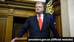 Президент України Петро Порошенко на засіданні Верховної Ради щодо запровадження воєнного стану в Україні. Київ, 26 листопада 2018 року