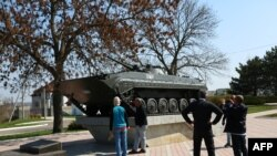 A Soviet tank serves as a monument in the Transdniester capital of Tiraspol.