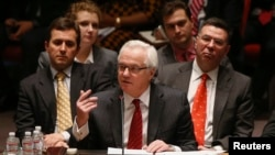 Russian Ambassador to the UN Vitaly Churkin speaks during a security council meeting on the crisis in Ukraine in March, at the UN headquarters in New York