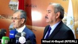 نائب رئيس حكومة إقليم كردستان العراق عماد أمد (يمين) مع محافظ كركوك نجم الدين كريم