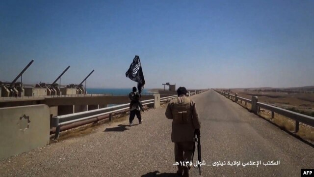 A video grab allegedly shows Islamic State (IS) militants waving a jihadist flag at Mosul Dam on the Tigris River.