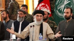 Gulbuddin Hekmatyar speaking to supporters in the eastern city of Jalalabad in April.