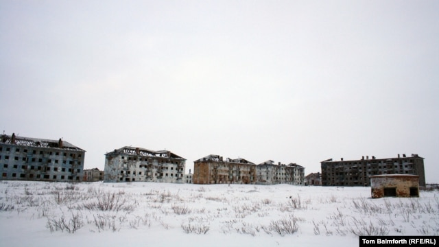Abandoned buildings in Vorkuta, where the population decreased by some 120,000 people in 30 years.
