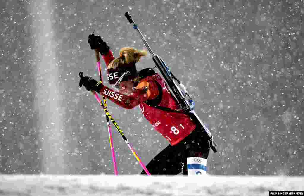 Biathlon: Elisa Gasparin of Switzerland in action during the Women's Biathlon 4 x 6 km Relay race at the Alpensia Biathlon Centre during the PyeongChang 2018 Olympic Games, South Korea, February 22, 2018.