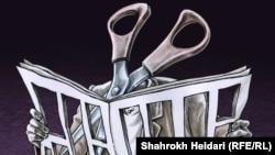 Карикатура на иранския художник Шарох Хейдари. Детайл.