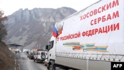 A truck carring Russian aid cross the border between Serbia and northern Kosovo in Jarinje on December 13.