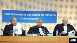 Judges for the European Court of Human Rights preparing to hear a $98 billion complaint filed by Yukos against the Russian government in Strasbourg in March 2010.
