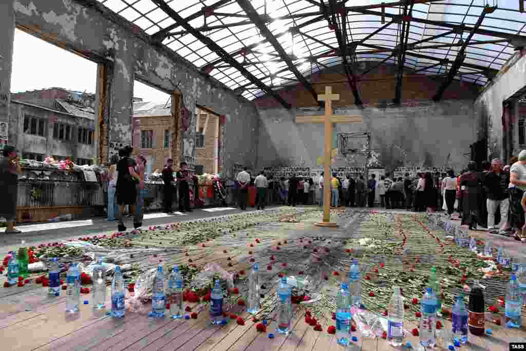 The gutted school gymnasium, where more than 1,000 hostages were held for days without food or water.