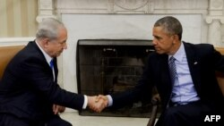 Barack Obama (djathtas) dhe Benjamin Netanyahu gjatë takimit të sotëm në Shtëpinë e Bardhë