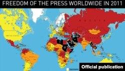 Мапа на слободата на печатот на Репортери без граници