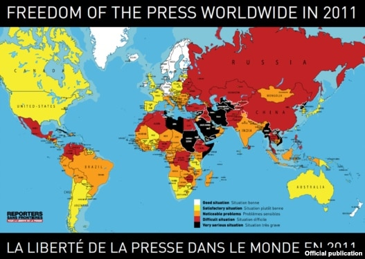 Mapa slobode medija u svijetu, Reporteri bez granica