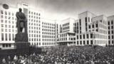 Belarus -- Parents and children of independence project. Worker strike in Minsk. Lenin Square. April 1991.