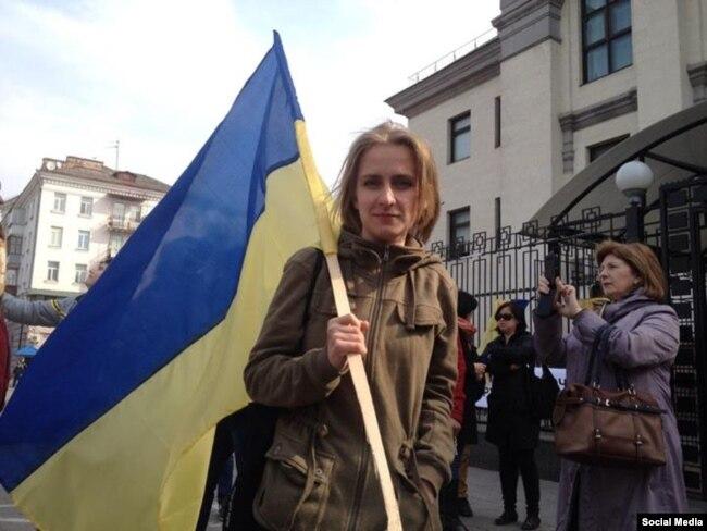 Олександра Дворецька на мітингу в Криму (архівне фото)