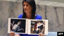 Ambasadoarea Statelor Unite la ONU Nikki Haley arată fotografii ale victimelor la o reuniune de urgență a Consiliului de Securitate ONU, New York, 5 aprilie 2017