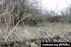 Адна з жыхарак Дубравіцы корпаецца на сваім гародзе