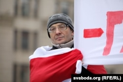 """The demonstrators chanted """"Independence!"""" and """"Long Live Belarus!"""""""
