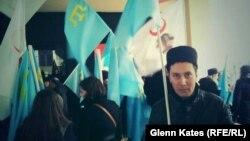 Серкан Сава, участник акции протеста против действий России в Крыму. Стамбул, 8 марта 2014 года.