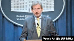 Serbia -- EU Commissioner Johannes Hahn speaks in Belgrade 10Sep2016