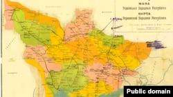 O hartă a Ucrainei înglobând teritorii moldovenești (Foto: colecția Octavian Țîcu)