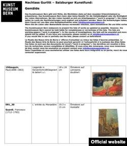 Pagină din lista tablourilor din reședința Gurlitt de la Salzburg