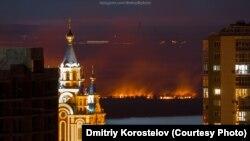 Пожар на левом берегу Амура