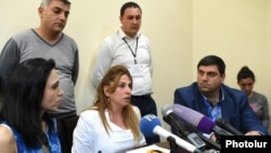 Armenia -- Opposition mayoral candidate Zaruhi Postanjian gives a press conference in Yerevan, 14May2017