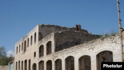 A war-ravaged building in Shushi, Nagorno-Karabakh