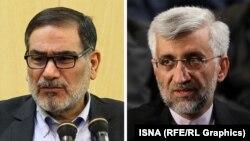 سعید جلیلی (راست) و علی شمخانی، نمایندگان آیتالله خامنهای در شورای عالی امنیت ملی ایران.