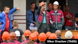 Workers at a fertilizer plant go on strike in Minsk in August 2020.