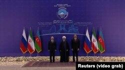 Tehranda İlham Əliyev, Həsən Ruhani və Vladimir Putinin üçtərəfli zirvə görüşü.