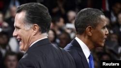 АҚШ Президенти Барак Обама (ў) ва Республикачилар партиясидан президентликка даъвогар Митт Ромни.