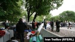 Орус оппозициясынын лагери жайгашкан жер. 14-май, 2012-жыл, Москва.