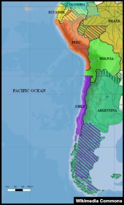 В 1879 году политическая карта Латинской Америки выглядела так. Территориальные претензии соседей друг к другу показаны заштрихованными