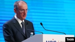 Шефот на рускиот совет за безбедност, Николај Патрушев зборува на Петтата московска конференција за меѓународна безбедност на 27 април 2016 во Москва