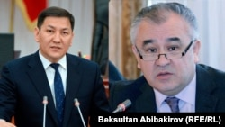 Milli howpsuzlyk komitetiniň başlygy Abdil Segizbaýew (ç), Omurbek Tekebaýew (s)