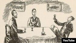 Cənab Çarlez Puter, xanım Karri Puter, oğlanları Lupin. Rəsmin müəllifi: Weedon Grossmith