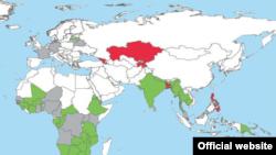 Карта стран, где проживают носители ВИЧ/СПИДа (ООН)