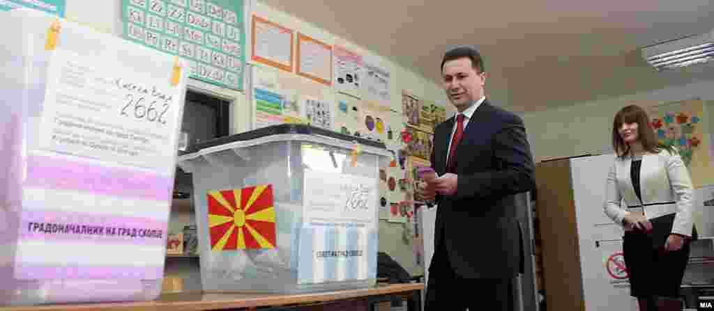 Premijer Nikola Gruevski glasa na izborima u Skoplju